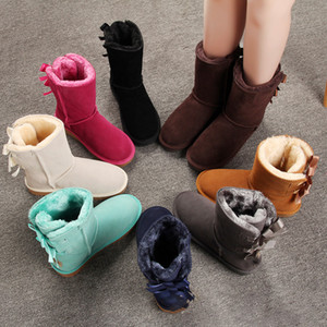 New classic ankle snow boots fur women winter boots Black Chestnut Pink Red Cool Grey short bow boot fashion outdoor women shoes
