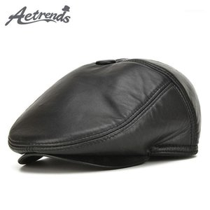 [AETRENDS] Fashion 100% Genuine Leather Newsboy Caps Men's Hats Leather Caps Z-53051