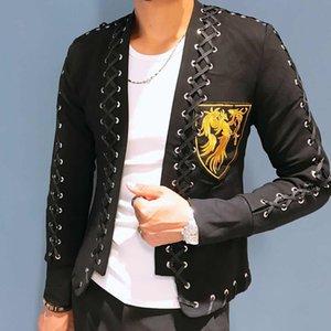 Noite Mostrar Homens Coreano Moda Estilista Blazer Slim Ajuste Bordado Jaqueta Na Moda Colares De Alta Qualidade De Alta Qualidade Terno De Laço Masculino