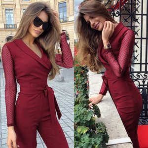 Cropkop Spring New Fashion Manica Lunga Polka Polka Dots Patchwork Elegante Tuta Donne Body Femme BodyCon Tute Tute One Piece Top Y200422