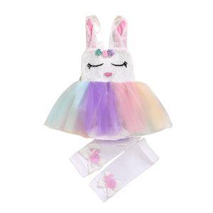 Días de Pascua Newborn Kids Girls Mampers Trajes para niños pequeños Jumpsuits Vestidos con medias Conjunto Niños Diseñador Ropa de conejo Trajes infantiles