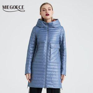 2020 Spring and Automne Jacket à capuche à la mode à la mode à la mode Miegofce Miegofce avec de grandes poches Longue Cotton Parka 8ZXG
