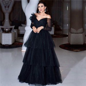 Arabic Off The Shoulder Tulle A Line Evening Dresses 2020 Long Sleeves Layered Ruffles Floor Length Formal Party Prom Gowns