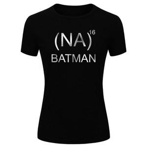 Women's Fashion Na x 16 Batman! Silver Glitter Print Short Sleeve Funny T-shirt Funny Comic Tee (Size S-XL)