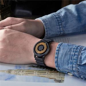 Brown Wood Watch Eutour Brand Men Relojes de cuarzo Magnetic Image Ball Drive Mens Dial de madera negro Banda de goma negro Relojes de pulsera LJ201202