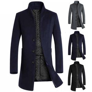 Men Winter Wool Coats Long Sleeve Stand Collar Buttons Pockets Blends Woolen Coat Men's Jackets