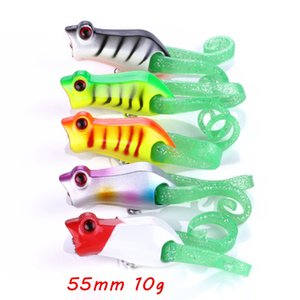 1pc 5 Color Mixed 55mm 10g 3D Eyes Popper Hard Baits & Lures Fishing Hooks 6# Hook Pesca Fishing Tackle KL_IU17