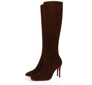 Элегантные зимние бренды женщины красные нижние ботинки Eloise Botta Bottes Knee Boots High каблуки Lady Combat Party, свадьба EU35-43
