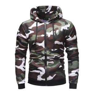 Herren Reißverschluss Tarnung Hoodies Mode Trend Langarm Strickjacke Mit Kapuze Sweatshirts Männliche Frühling Neue Beiläufige Lose mit Tasche Hoodies