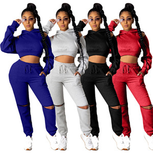 2020 new autumn and winter women's multi-color fashion casual simple sexy hooded open shoulder sweater long sleeve female sports suits