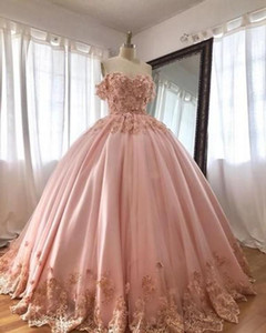 Off the Shoulder Pink Sweet 16 Quinceanera Dress 3D Floral Appliques Beaded Masquerade Prom Dress Formal Wear Vestidos
