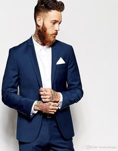 New Groom Tuxedos Groomsmen Dark Blue Vent Slim Suits Fit Best Man Suit Wedding Men's Suits Bridegroom Groom Wear (Jacket+Pants)