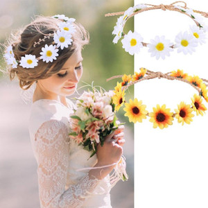 Straw hat rope long pointed sun flower wreath small daisy hair band braided small daisy hairwear