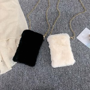Designer-Faux Fur Crossbody Bags for Women Autumn Winter Plush Purses and Handbags Female Phone Shoulder Bag Girls Wallet 25