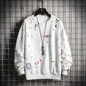 Men's Hoodies & Sweatshirts 2021 Trend Men Casual Solid Splice Pullover O-Neck Slim Fit Men's Sportswear Sweatshirt Print Male Hoody Tr