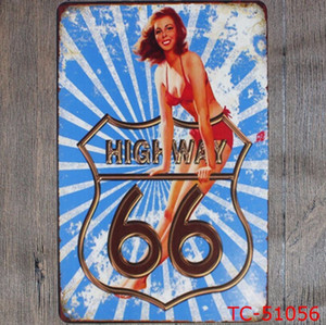Metal Tin Signs Vintage Route 66 Plate Plaque Poster Iron Plates Wall Stickers Bar Club Wall Garage Home Decor 40 Designs WZW-YW3189