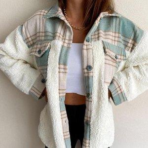 Women's Blouses & Shirts 2021 Fashion Coat Winter Warm Long Sleeve Stitching Plaid Pocket Jacket Femme Autumn Coats Blouse Cardigans