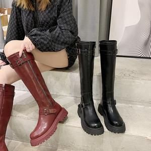 Designer Womens Schuhe Modisch Komfortable lange Martin Motorradstiefel mit Samtschnalle Hohe Stiefel Winter polierte Colo