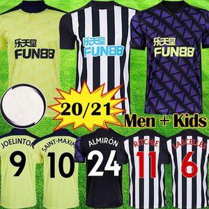 Yeni 20 21 NUFC Futbol Formaları Shelvey 2020 2021 Joelinton Futbol Gömlek Almiron Ritchie Gayle Ekipmanları Erkekler Çocuk Kitleri Maillot De Ayak