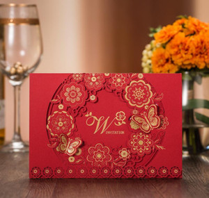 (30 Pieces lot) Traditional Overseas Chinese Red Wedding Invitation Card Laser Cut Butterfly Marriage Gues bbyYJC garden2010