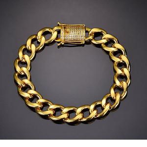 Karopel Crystal Cz Zircon Triple Lock Bracelet 10mm Cuban Link Box Clasp Bracelet Men Female Hip Hop Jewlery Drop wmtThr