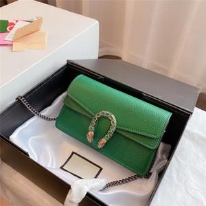 Flut 2020 Originalstil Hohe Qualität Leder Handtasche Mode Pearl Schnalle Handtasche Metallkette Messenger Bag Umhängetasche Mini Reisetasche