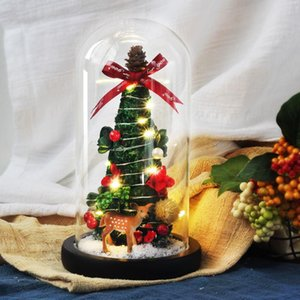 Christmas Tree Elk Artificial Flowers Rose In Glass Cover Home Decorations For 2020 Xmas Ornaments New Year Gift