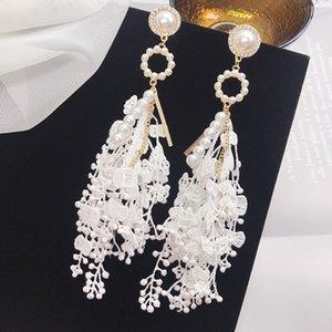 Hohe qualität weiße spitze quaste perlen weibliche langen ohrringe baumeln thread pearl ohrring streben elegente frauen hochzeit ohrring schmuck mädchen