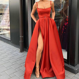 vestidos de gala Spaghetti Strap A Line Long Prom Dress 2020 Sleeveless Custom Made Formal Prom Party Gowns Cheap Party Gowns