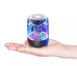 Mini Portable Wireless Bluetooth Speaker LED Colorful Light Transparent Speakers Luminous Subwoofer 6D Surround HIFI Stereo For Smart Phone