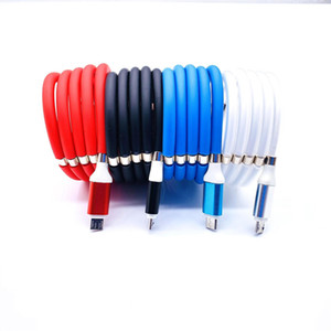 1m Universal Magnetic Absorption Self Winding USB to Type C Data Charger Cable Fast Charging Cord For Mobile Cellphone
