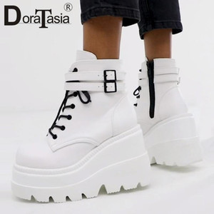 DORATASIA New INS Hot Ladies High Platform Boots 2020 Fashion High Heels Ankle Boots Women Party Wedges Shoes Woman