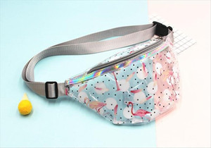 PINK Transparent Waist Bag Children PVC Holographic Flamingos Fanny Packs Young Girls Waterproof Chest Bag Kids Cute Hip Bum