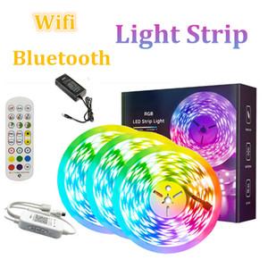 5m 10m 5050RGB LED 스트립 라이트 테이프 방수 빛 LED 리본 테이프 LED 램프 와이파이 블루투스 통제