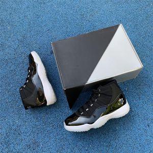 Venta caliente Jubileo 25 aniversario Fibra de carbono real 11 11s Negro / Claro / Blanco / Metálico Silver Menores de mujer Zapatos de baloncesto Tareas
