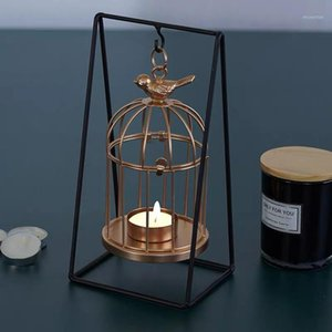 Nordic Creative Candle Holder Stainless Birdcage Craft Pink Candles Romantic Home Decoration Houshold Candle Dinner Tools1