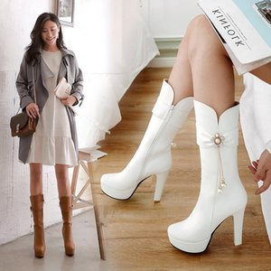 Women's Rubber Boots Female Shoes Round Toe Platform Rain Ladies High Heel Mid Calf Low White Rock Solid Fabric