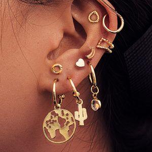 Creative Personalized Map Cactus Love Heart Stud Earrings Suit 9 pcs Ear Clip