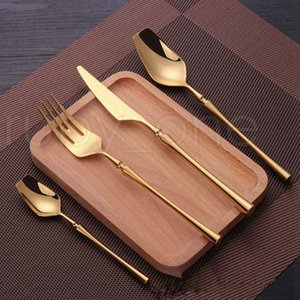 24 Pcs Stainless Steel Tableware Gold Cutlery Set Knife Spoon and Fork Set Dinnerware Korean Food Cutlery Kitchen Accessories RRA3913