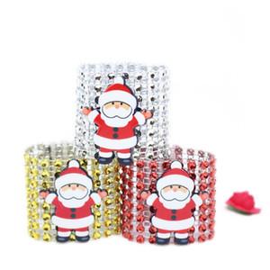 Anillo de la servilleta de la servilleta de plástico Navidad Rhinestone Wrap Santa Claus Silla Hebilla Hotel Suministros de boda Decoración de la mesa de casa 3 Color al por mayor