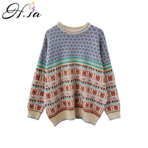 Hsa 2020 Winter Sweater and Pullovers Retro Vintage cashmere sweater women Oversized Pull Patchwork Christmas Sweaters