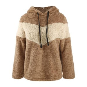 Womens Hoodies Top Female Fall Winter Fashion Thick Warm Sweatshirt Long Sleeve Solid Color Plush Hoodies Pullover Coat