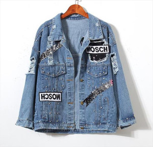 Womens Ladies Bear Patch Denim Jacket With Sequins Pins Women Punk Beadings Long Sleeve Loose Street Wear Jeans Jackets Coat
