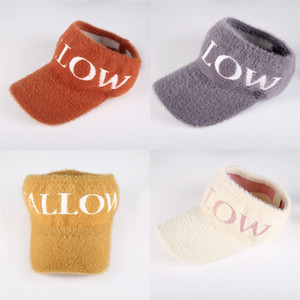 Empty Roof Knitted Hat Lady Autumn And Winter Peaked Cap Letter Outdoors Imitation Mink Fashion Casquette Cycling 7 5jj O2