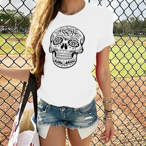 Popular women's clothing European and American personalized print skull head T-shirt women's round neck Cotton Short Sleeve Top