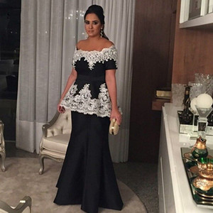 Mermaid Black Mother Of The Bride Dresses With Ivory Lace Appliques Boat Neck Off Shoulder Short Sleeves Women Party Gowns