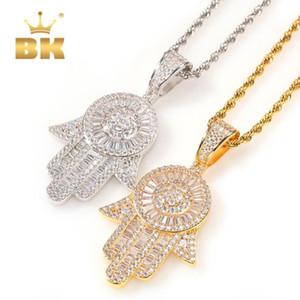The Bling King الشظية عيون من ملاك قلادة قلادة فاطمة اليد الدين النحاس كامل مثلج خارج زركونيا مجوهرات ذهبية جديدة Q1129