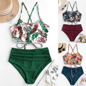 2020 여성 보헤미안 꽃 수영복 여름 폴리 에스터 비키니 세트 높은 허리 와이어 무료 수영복 프린트 녹색 수영복 # 31