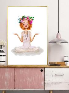 Cartoon Yoga Girl Nordic Canvas Painting Flower Mermaid Girl Posters And Prints Wall Art For Kids Room Home Decor Yoga Hall
