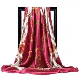 Women Daily Square Scarf Adult Hijab Office Large Imitation Silk Handkerchief Belt Printed All Season Head Shawl Fashion Soft